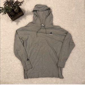 Adidas Men's Long Sleeve Grey Hooded XL Shirt
